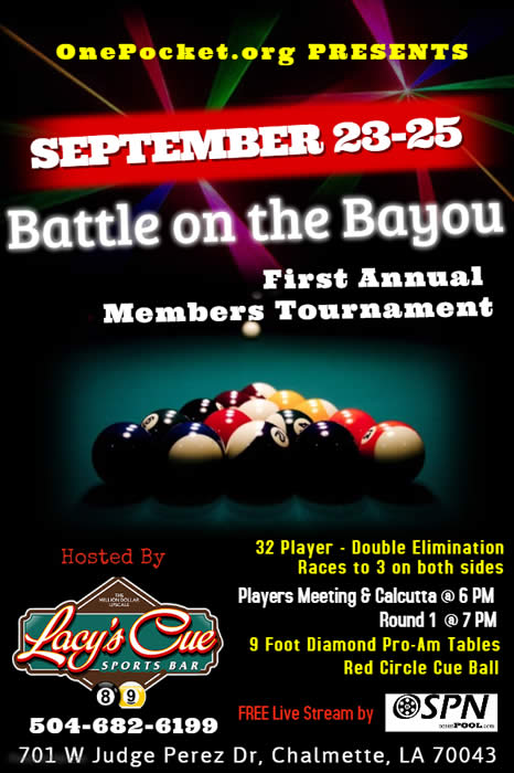 OnePocket.org Members Tournament flier