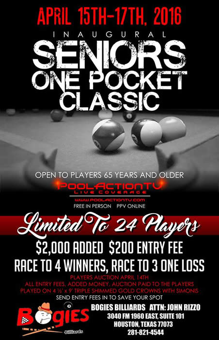 Senior One Pocket Classic 2016 Bogies Billiards